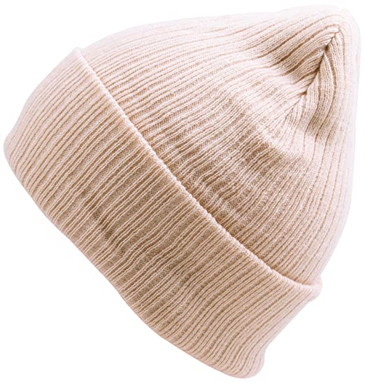 c25a654ba07 WDSKY Women s Rib Knit Beanie Hat Fashion Cuffed Beige at Amazon ...