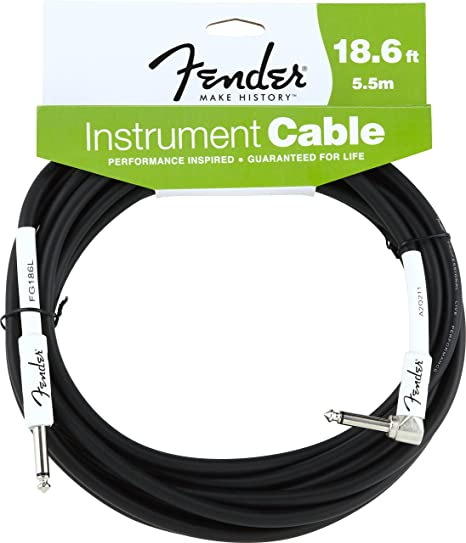 Fender 2D58 - Cable, color negro, Jack angulado, 5.5 m