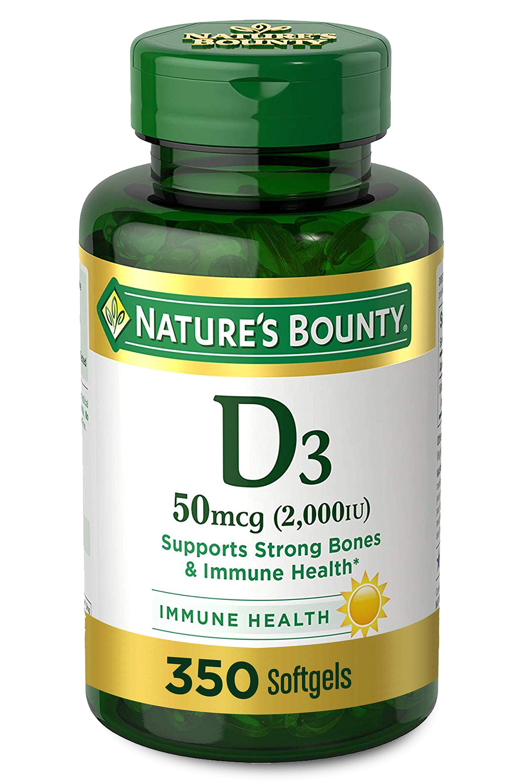 Vitamin D3 by Nature's Bounty for Immune Support. Vitamin D Provides Immune Support and Promotes Healthy Bones. 2000IU, 350 Softgels