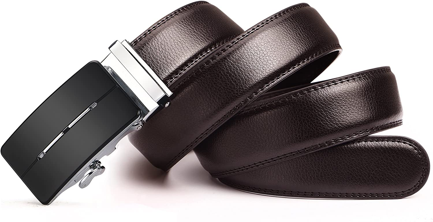Jeemiter Mens Belts Leather Ratchet Dress Belt with Automatic Buckle 1 3//8 Wider for from 20 to 43 Waist