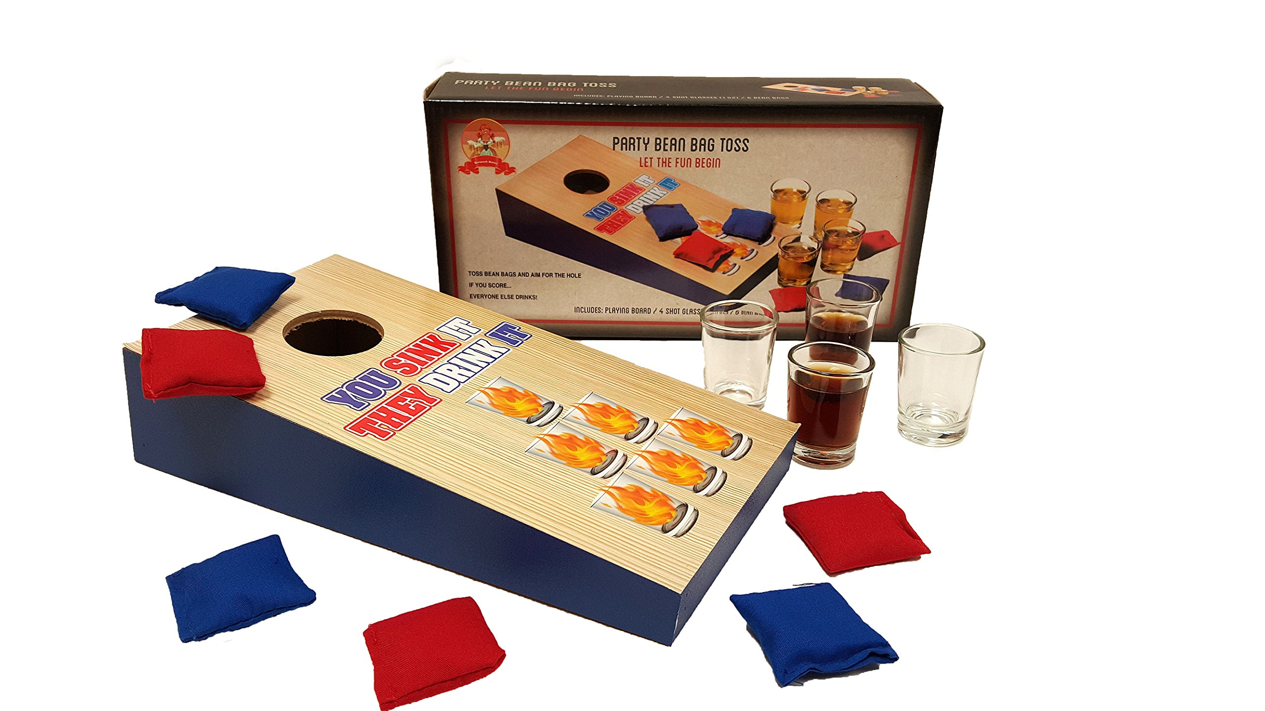 'Barwench Games' Cornhole Bean Bag Toss Tabletop Party Drinking Game, Includes Playing Board, Shot Glasses, Bean Bags!