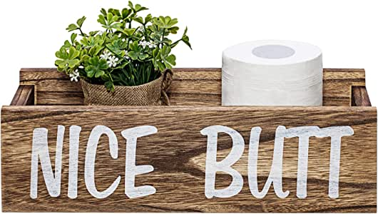 Nice Butt Bathroom Decor Box, Farmhouse Wooden Bathroom Box, Wooden Rustic Toilet Paper Holder, Funny Home Decor Box for Bathroom, Kitchen, Table and Counter (Brown)
