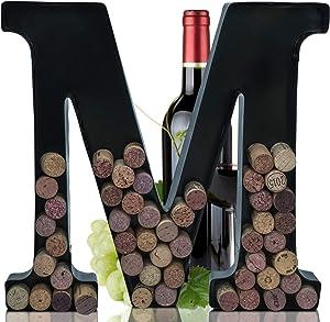 Metal Letter Wine Cork Keepsake Saver & Holder Monogram w/Free Wall Mount Kit A-Z (Medium)