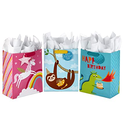 ace3d3c14fda Hallmark Large Kids Birthday Gift Bags Assortment with Tissue Paper—Sloth,  Dinosaur, Unicorn (Pack of 3 Gift Bags, 9 Sheets of Tissue Paper)