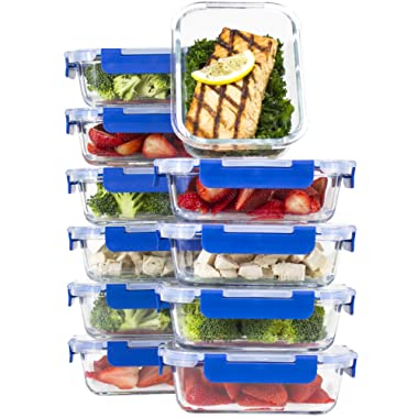 [10 SETS VALUE PACK] Glass Meal Prep Containers – Glass Food Storage Containers with Lids Meal Prep – LIFETIME Lids - Lunch Containers Portion Control Containers -BPA Free Containers(24 ounce/ 3 cups)