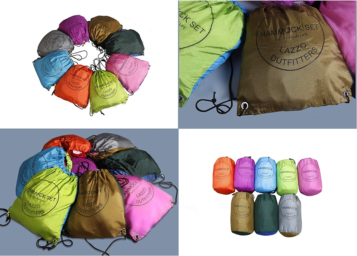 Tree Straps Bundle Includes Net Backpack Lightweight Nylon Single Hammock Tarp Weighs 4 Pounds LAZZO Camping Hammock Perfect for Hammock Camping,Backpacking,Hiking