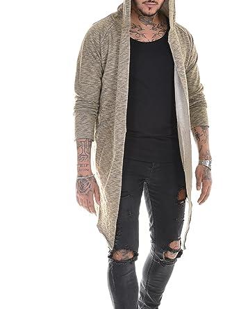 BAXMEN CULTWEAR Herren Cardigan Hoodie Destroyed Jacke Lang Strickjacke Hooded Long Sweatjacke Lang Vintage Slim Fit