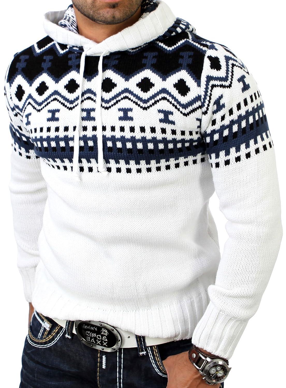 Pull Norvégien pour l'hiver Reslad Pull à capuche – Pull en tricot pour hommes RS de 3013.
