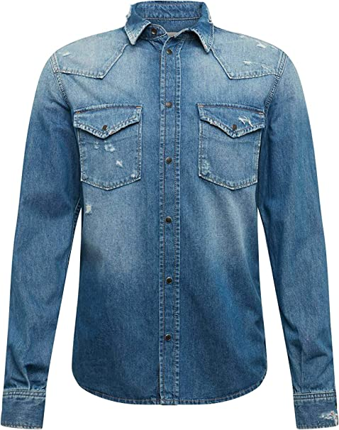 Pepe Jeans Camisa Noah Denim Azul Hombre: Amazon.es: Ropa y accesorios