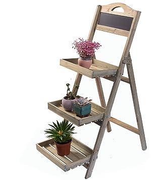 Etagère de jardin Etagère à plantes en bois avec tableau en ardoise ...