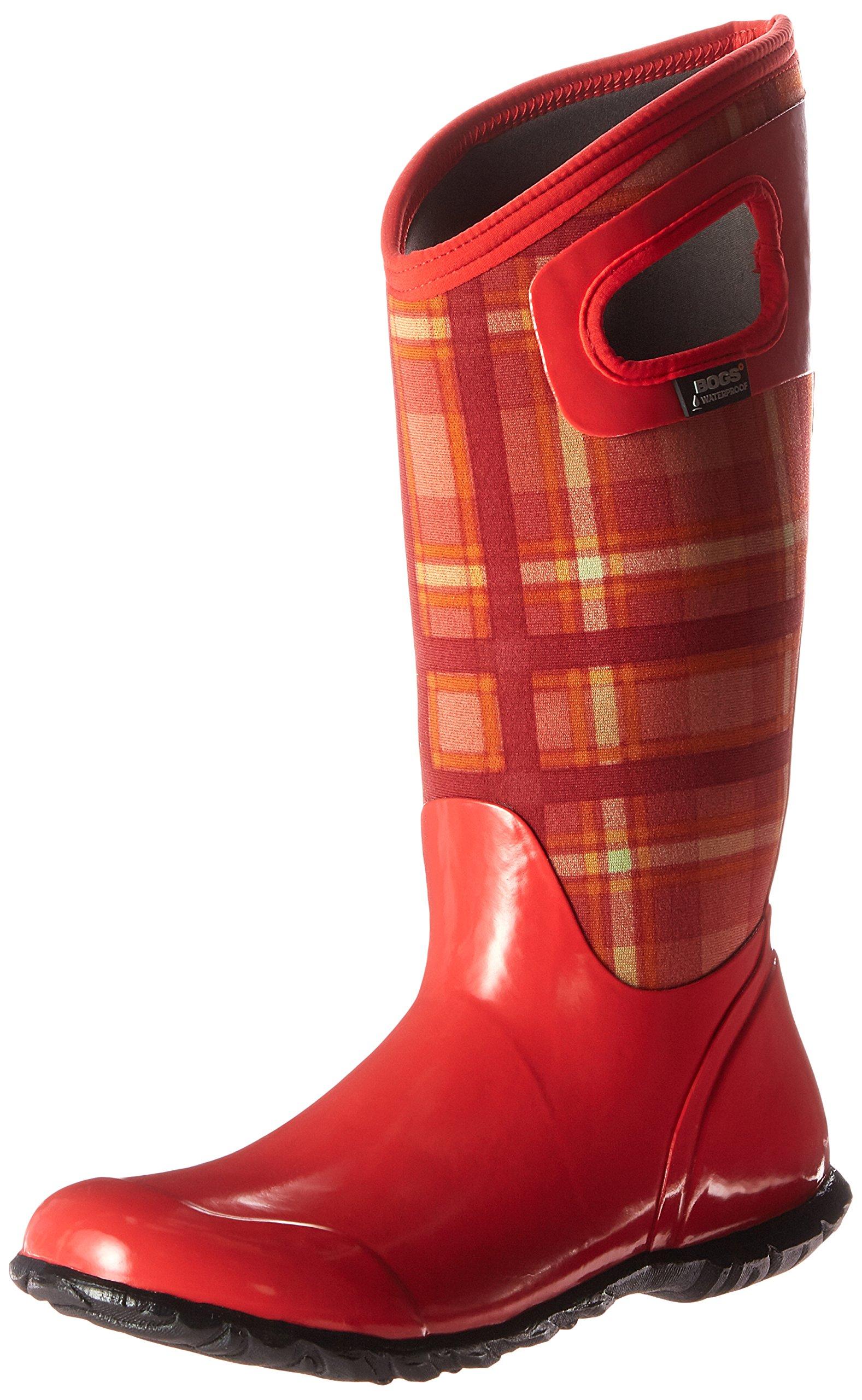 Bogs Women's North Hampton Plaid Winter/Rain Boot, Red/Multi, 6 M US