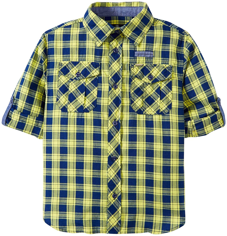 7 BUFFALO Little Boys Plaid Woven Shirt Kid - Navy//Yellow