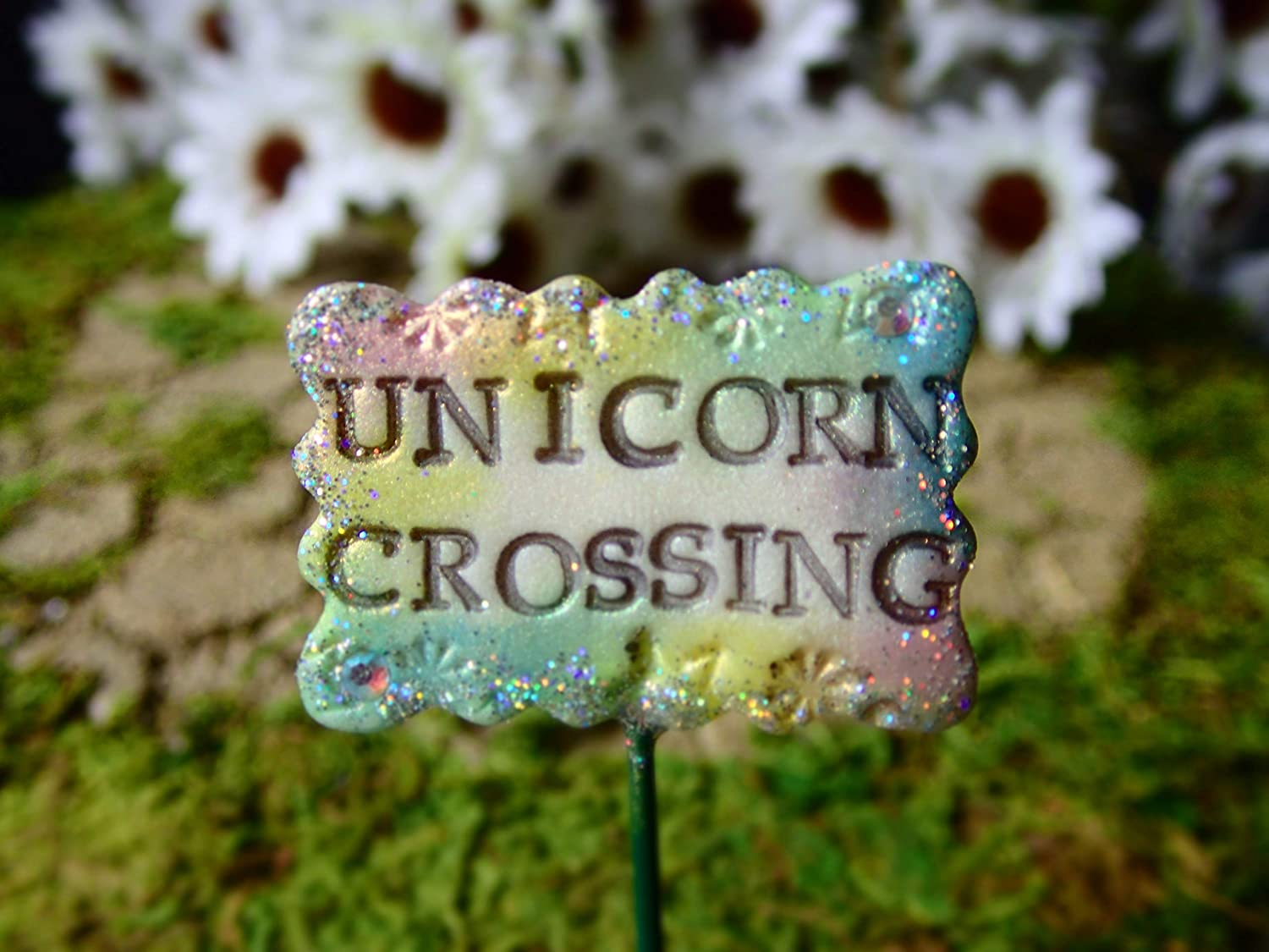 Miniature Fairy Garden Unicorn Decoration, Unicorn Crossing Sign, Mini Garden Planter, Dollhouse, Terrarium Decorations & Accessories