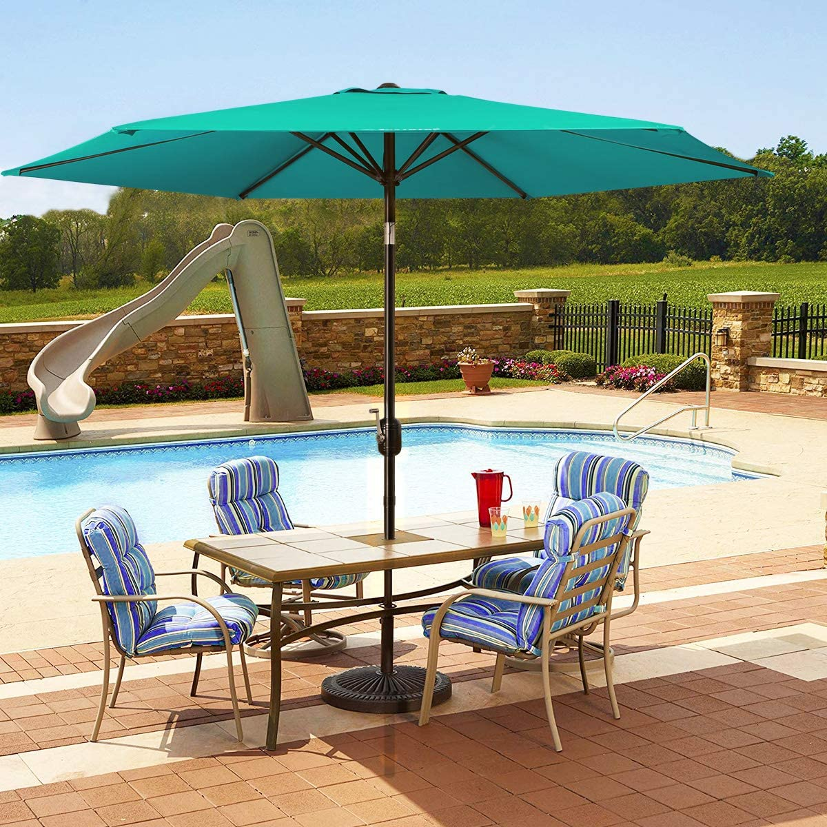 MOVTOTOP Patio Umbrella 9Ft UPF 50 Premium Outdoor Table Umbrella, Market Umbrella with Push Button Tilt and Crank for Garden, Deck, Backyard, Pool Green