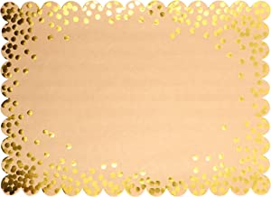 Blue Panda Kraft Scalloped Paper Placemats with Gold Foil Polka Dots – Pack of 50