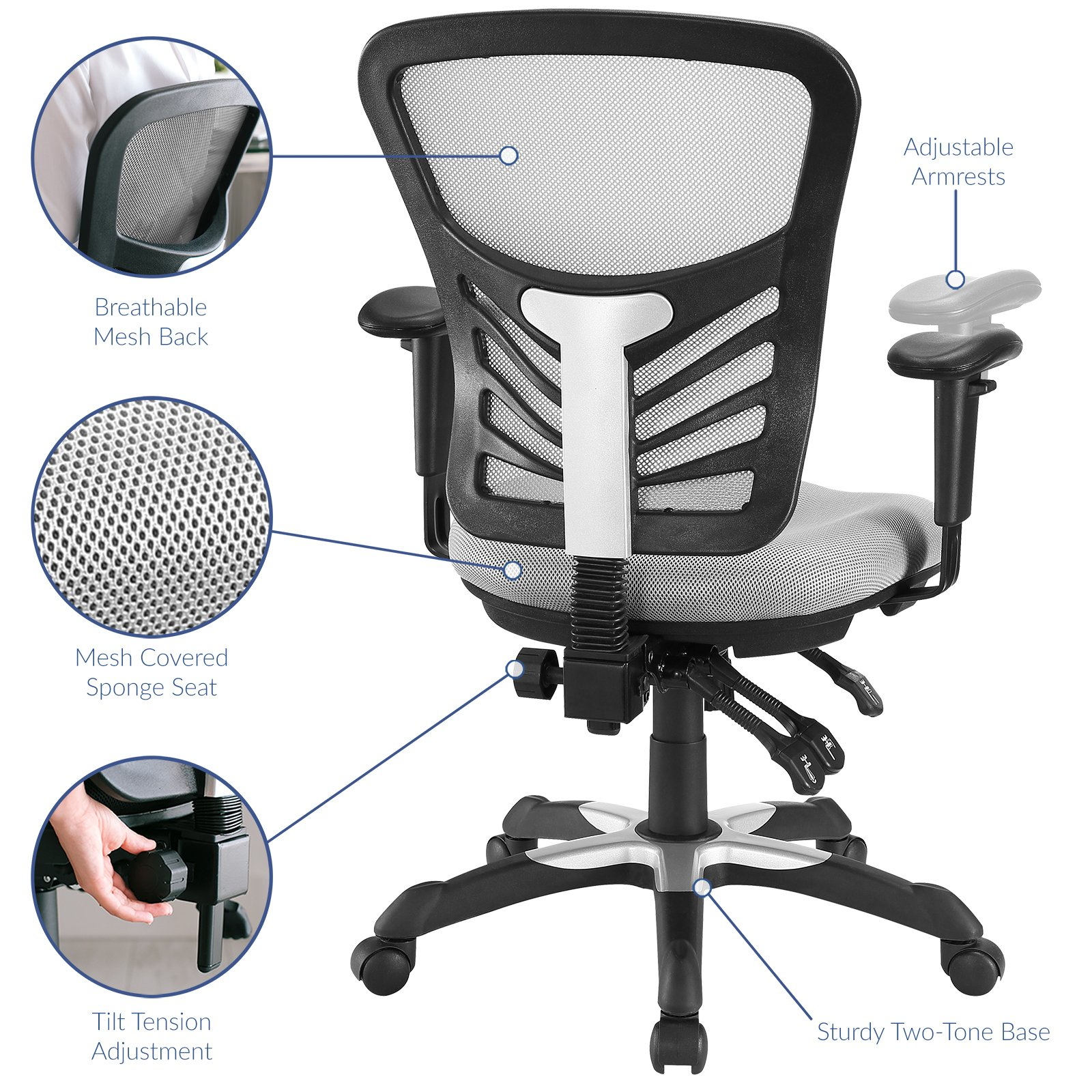 Modway Articulate Ergonomic Mesh Office Chair in Gray by Modway (Image #3)