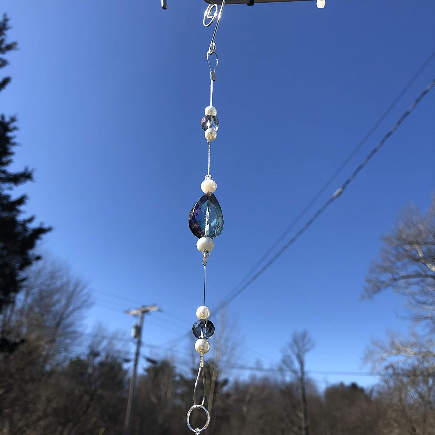 SILVER Hot Air Balloon Suncatcher with COLORED Crystals 8477