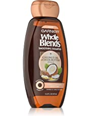 Garnier Whole Blends Coconut Oil and Cocoa Butter Smoothing Shampoo. Fix Frizzes and Fly-Aways, Paraben-Free, 370 ml