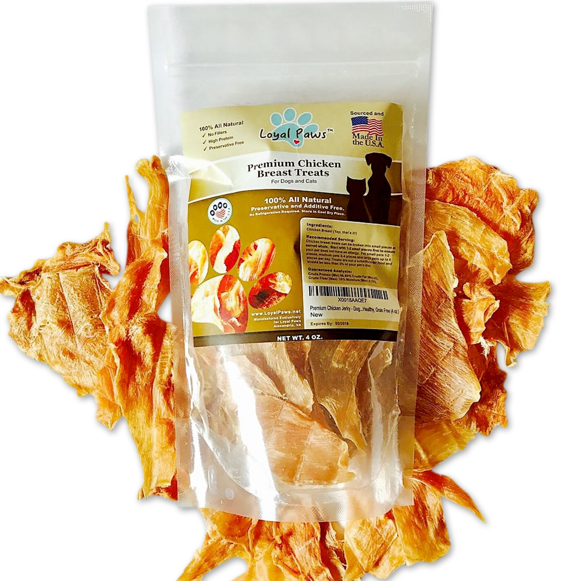 Loyal Paws Dog Jerky Treats - Premium Chicken - Dog Treats Made in USA Only. All Natural - Healthy, No Preservatives, Grain Free - Great For Training! 4 oz.