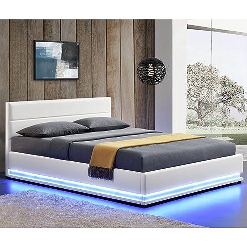 Bett 140x200 mit bettkasten  Polsterbett Toulouse 140 x 200 cm mit rundum LED und Bettkasten ...