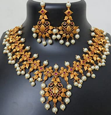 df927dea8 Image Unavailable. Image not available for. Colour: Ziva Fashions Gold  Plated Matte Finish Jewellery Set ...