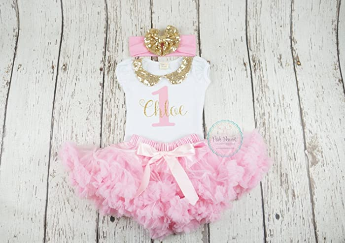 Girls First Birthday Outfit In Pink And Gold
