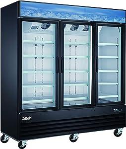 Xiltek 3 Glass Door Commercial Merchandiser Freezer - Upright Reach In Freezer - Display Freezer - 53 Cu. Ft.