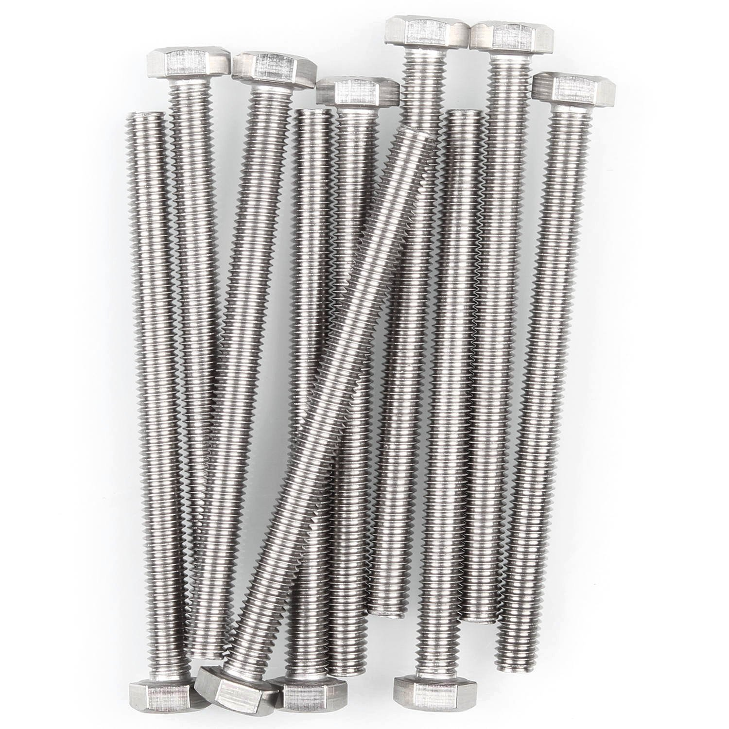 304 10 Pcs M8-1.25 x 100mm Hex Head Screw Bolts Eliseo M8 Hex Bolt A2-70 Stainless Steel Fully Threaded Hex Tap Bolts