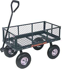Utility Mesh Steel Garden Cart,Heavy-Duty Hand Truck with Removable Sides, 400-lbs Capacity, Green