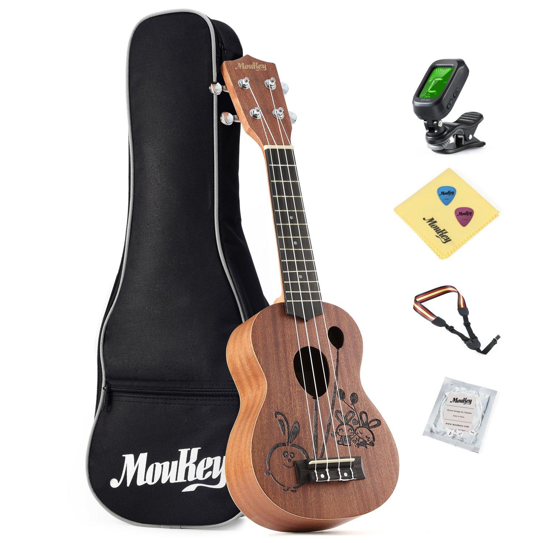 Moukey Soprano Ukulele Set MUS-3R 21Inch Rabbit Design Kid Ukulele Mahogany with Bag String Tuner by Moukey