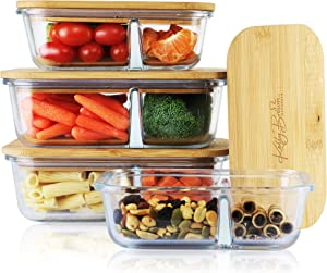 Plastic-Free Glass Meal Prep Food Storage Containers | with Sustainable Bamboo Lids | Food Dividers Separators | Bento Box | Eco-Friendly Lunch Box | Set of 4: (2 Small + 2 Large)