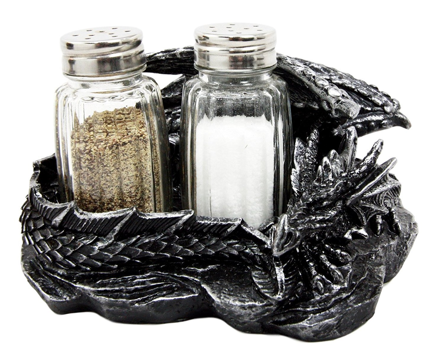 Mythical Sleeping Dragon Glass Salt and Pepper Shaker Set with Decorative Holder Display Stand Figurine for Medieval Kitchen Decor Sculptures & Gothic Dining Room Table Centerpieces As Fantasy Home Accent Gifts