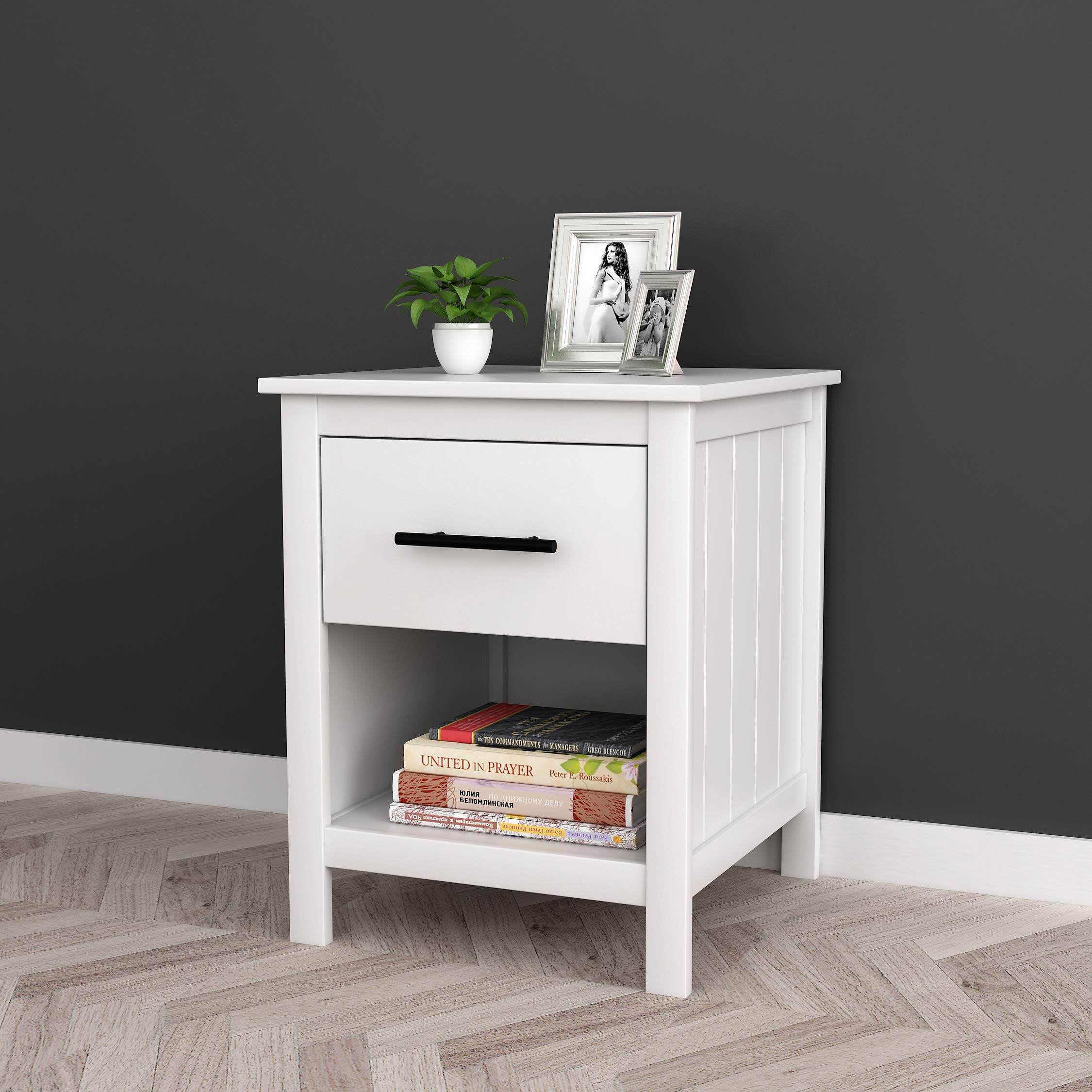 White Finish Nightstand Side End Table with Drawer and Open Shelf 22'' H by Unknown