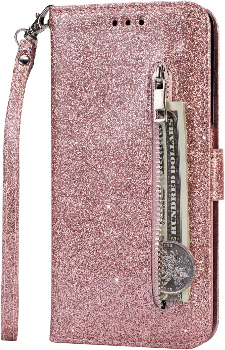 Luxury Glitter Bling Zipper Wallet Phone Case for Huawei P30 Pro MOIKY Bookstyle PU Leather Flip Folio Magnetic Purse Pockets Credit Card Holder Wrist Strap Case Cover for Huawei P30 Pro Rose Red