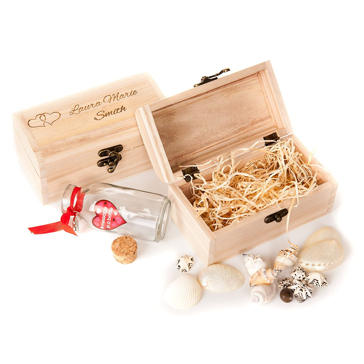 Personalised Engraved Treasure Chest With Message in a Bottle Valentines Day Gift Love