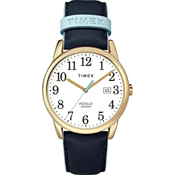 4d0985e06cb2 Timex Women s TW2R62600 Easy Reader 38mm Blue Gold-Tone Leather Strap Watch