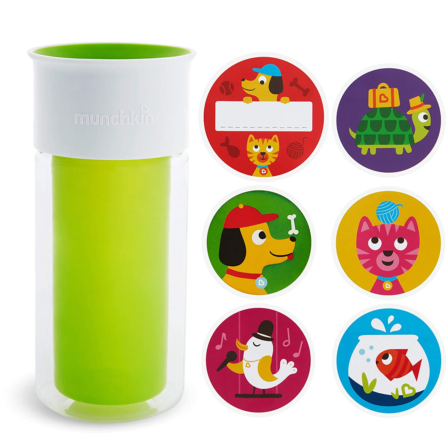 Munchkin Miracle 360 Insulated Sippy Cup, Includes Stickers to Customize Cup, 9 Ounce, Green