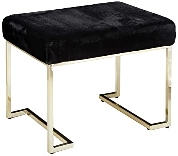 Cool Christopher Knight Home Cecilia Glam Black Furry Bench With Gold Metal Legs Dailytribune Chair Design For Home Dailytribuneorg