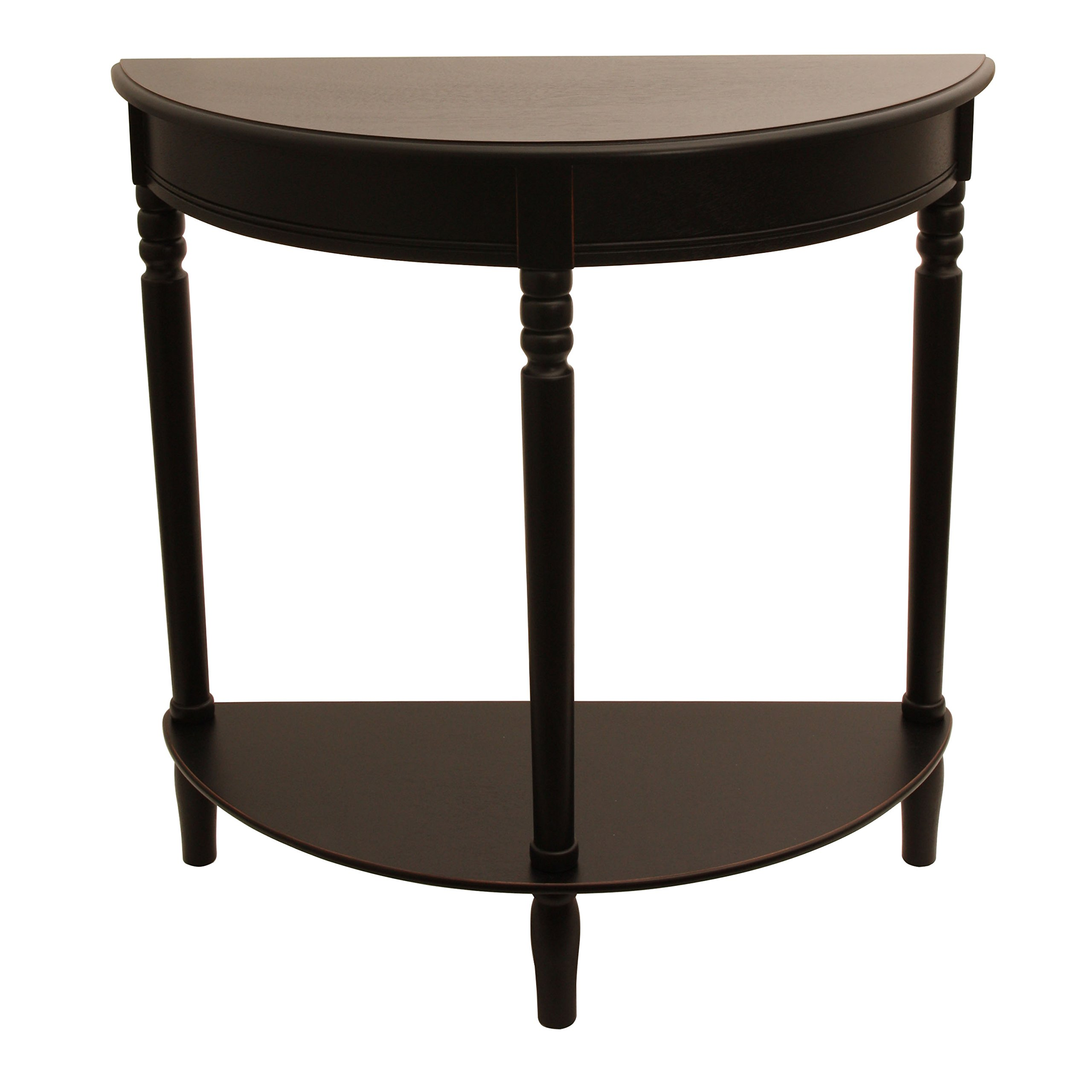 Décor Therapy FR1799 Eased Edge Black Half Round Table, Black Finish
