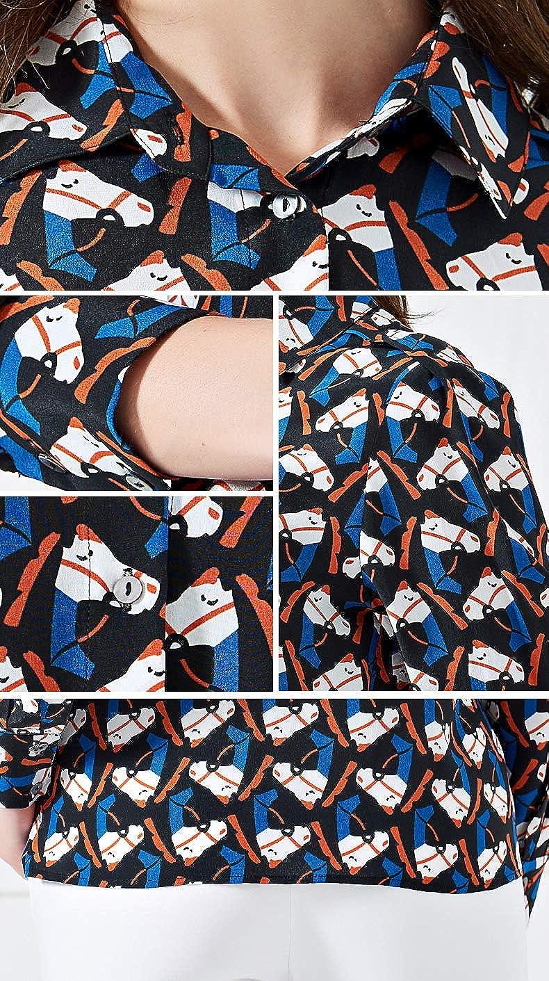 Valin V6717A - Camicia da donna in 100% seta Blu