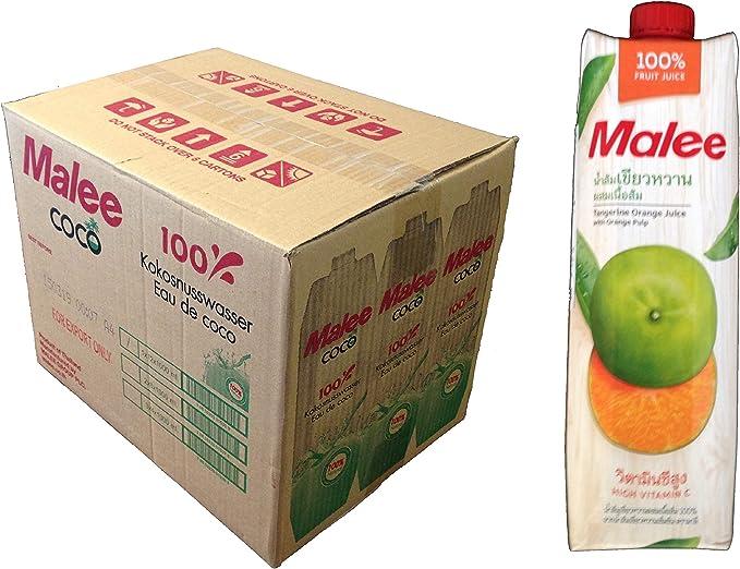 100%タンジェリンオレンジジュース Malee 1000ml 12本セット