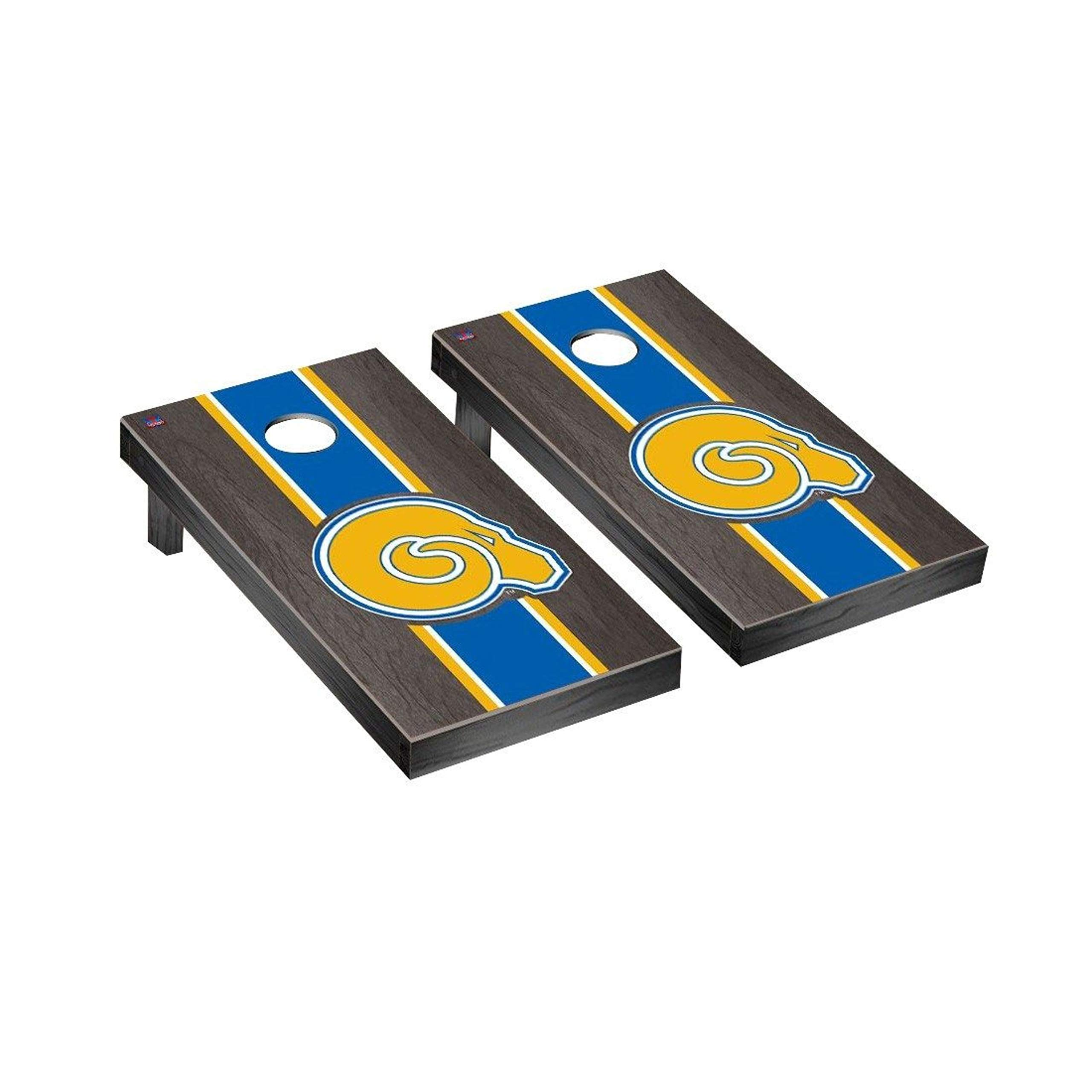 Victory Tailgate Regulation Collegiate NCAA Onyx Stained Stripe Series Cornhole Board Set - 2 Boards, 8 Bags - Albany State Golden Rams