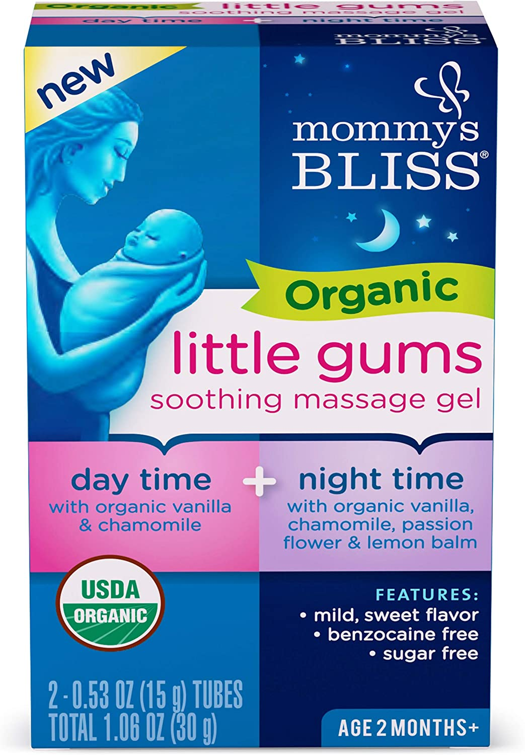 Mommy's Bliss - Organic Little Gums Soothing Massage Gel - Day & Night Combo - 1.06 Ounce (2 Tubes): Health & Personal Care
