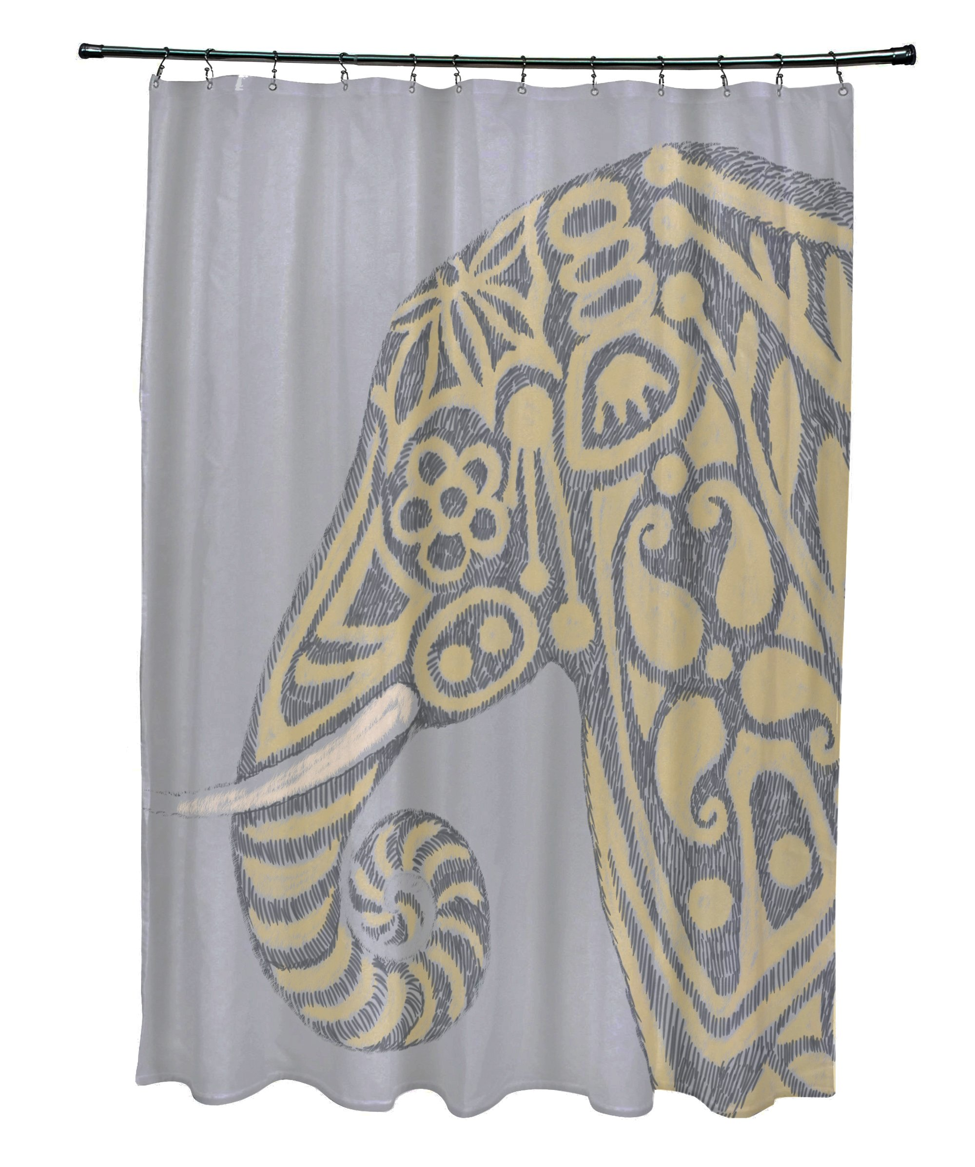 E By Design SCAN378GY3YE4 Inky Animal Print Shower Curtain, 71'' x 74'', Gray