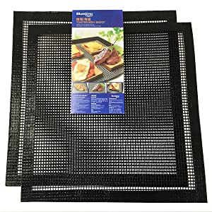Bluedrop PTFE Open Mesh Crispy Baking Mats Quick Oven Liners Dehydrator Sheets Non Stick Perforated Toaster Meshes Pack of 2