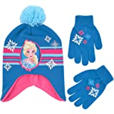 Disney Girls' Little Frozen Elsa Scandi Hat and Gloves Cold Weather Set