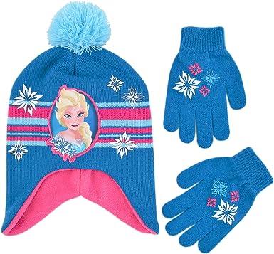 Disney Frozen Elsa and Anna Girls Beanie Hat and Gloves Set