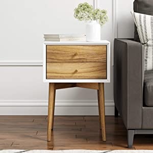 Nathan James 32702 Harper Mid-Century Side Table 2-Drawer Nightstand White/Brown