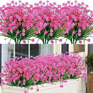 GLAAPER 20 Bundles Fake Artificial Flowers Outdoor for Decoration UV Resistant No Fade Faux Plastic Plants Garden Porch Window Box Décor Kitchen Office Table Vase(Pink)