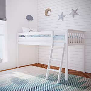 Max Lily Solid Wood Twin Size Low Loft Bed White Furniture Decor